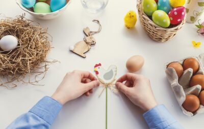 craft with chicken figure and eggs