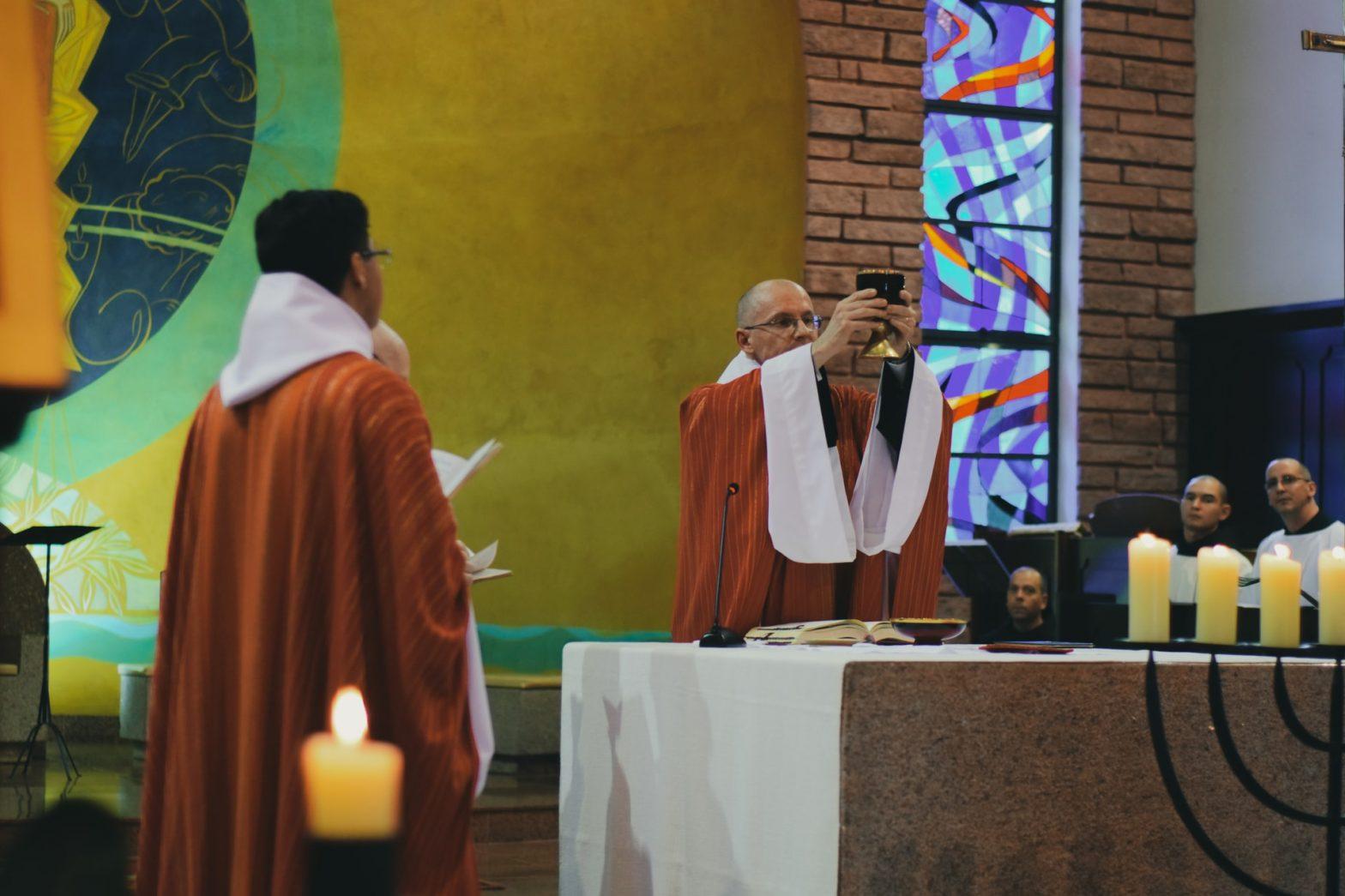 priest celebrating Mass